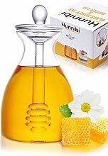Hunnibi Honigglas mit Dipper, Honiglöffel und