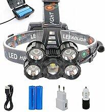 Huntvp LED Stirnlampe Superhell 5*XML-T6 5000LM Scheinwerfer Wiederaufladbar Headlight 4 Modi Wasserdicht Kopfleuchte Notfall Power Bank Funktion Nachtsicht für Angel Laufen Jage Bergarbei