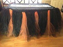 huplue Halloween Tisch Vorhänge Tisch Rock Chinlon Tisch Fransen Party Vorhänge Tisch Party Dekoration