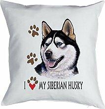 Husky Sibirischer Siberian Husky Bezug für Kissen - Geschenk Hundefreund Hundebesitzer - Hunde Motiv I love my Siberian Husky - Motiv Kissenhülle Deko 40x40cm weiß : )