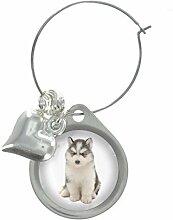 Husky Welpe Hund Bild Design Weinglas Anhänger mit schicker Perlen