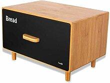 Husla Bambusbrotbox mit Schublade Scandic schwarz