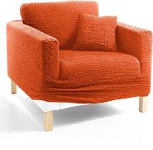 Husse Crincle, orange (Sessel mit Armlehnen 80-100 cm)