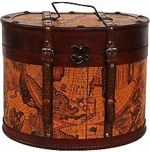 Hutkoffer 34cm Hutschachtel Hutbox Holz Antik-Stil