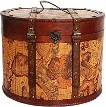 Hutkoffer 40cm Hutschachtel Hutbox Holz Antik-Stil