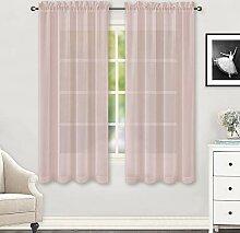 HUTO Gardinen für Schlafzimmer, 160 cm lang, mit