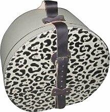 Hutschachtel Pappe mit Leopardenmuster auf Deckel,