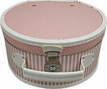 Hutschachtel Pappe rosa mit weißen Punkten und