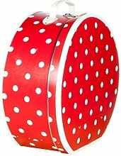 Hutschachtel Pappe rot weißen Punkten ca. Ø 30 x