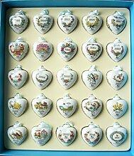 Hutschenreuther 02256-725854-28546 Setzkasten mit 25 Miniherzen 1993 - 2017, Limitiert auf 1 Stück, Porzellan, bunt, 32 x 28.5 x 4.5 cm