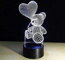 HUUDNHYK 3D Touch LED Liebe Ballon Bär Nachtlicht