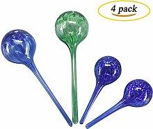 huvai Glas selbstwässernde Globes Bewässerung für Pflanzen Birnen Set perfekt für Urlaub Bewässerung für Pflanzen Pflanze Erstaunlich, Partner Haus Plant Glass selbstwässernde System 4Set (2Standard, 2große)