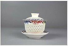 HUYHUY Exquisites Gaiwan Teeset, White Bone China,