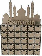 Huyiko Wooden MDF Eid Ramadan Mubarak Advent