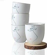 HwaGui-Weiße Porzellan Tee Tassen 4 Stück,