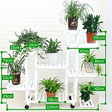 HWF Blumenregal/Blumenständer Blütenständer Massivholz Mehrere Schichten Bodenbelag Blumentopf Rack Balkon Wohnzimmer Indoor Mobile ( Farbe : Weiß , größe : B )