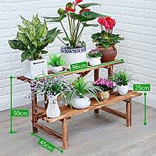 HWF Blumenregal/Blumenständer Blumenständer Massivholz Mehrere Ebenen Boden Balkon Wohnzimmer Blumentopf Rack Bodenbelag ( Farbe : A , größe : 96CM )