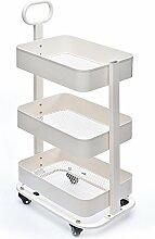 HWF Küchenwagen Regal Multifunktions-Finish Lagerung Rack Breathable Mesh Bottom Move Kitchen Trolley ( Farbe : Weiß )