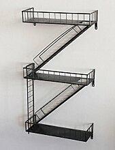 HWF Küchenwagen Regale Treppen Wanddekoration Wandbehang Industrial Style Cafe Bar ( Farbe : Schwarz )