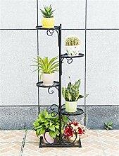 HWHJ Blumen-Gestell / europäischer Art-Blumen-Rahmen-Balkon plus mehrstöckiges Wohnzimmer-Bonsais-Fußboden-Fußboden-Art-kreativer grüner Rettich-Strichleiter-Blumentopf-Regal Kreative Blumenregale ( Farbe : Schwarz )