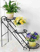HWHJ Blumen-Rack / Eisen-Wohnzimmer Blumen-Rack / Balkon Innen-und Outdoor-Boden-Stil Blumentöpfe / Leiter Multi-Layer-Eisen Regal / Bonsai-Frame-Anlage Kreative Blumenregale ( Farbe : Schwarz )