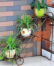 HWHJ Blumen-Rack / Eisen-Wohnzimmer Blumen-Rack / Balkon Innen-und Outdoor-Boden-Stil Blumentöpfe / Leiter Multi-Layer-Eisen Regal / Bonsai-Frame-Anlage Kreative Blumenregale ( Farbe : Messing )