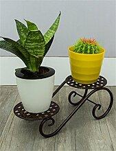 HWHJ Blumen-Rack Europäische Art-Eisen-Blumen-Zahnstange-Balkon-Wohnzimmer-Innen-Blumen-Regal Kreative Blumenregale ( Farbe : Messing , größe : 30*11.5cm )