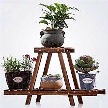 HWHJ Blumen-Rack, hölzernes Blumen-Regal, Indoor-Fensterbrett-Topf-Zahnstange, zweistöckiger Balkon-Blumen-Zahnstange, Massivholz-Wohnzimmer-Fußboden-grüne Blumen-Blumen-Zahnstange, hölzerner einteiliger Rahmen Kreative Blumenregale ( Farbe : 2* )