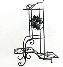 HWHJ Blumen-Rahmen Eisen DIY mehrstöckige Blumen-Regal Indoor Balkon Einfache Boden Mehr Fleisch Grün Radix Orchidee Blume Blumenrahmen Rahmen Kreative Blumenregale ( Farbe : Schwarz )