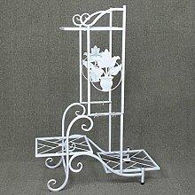 HWHJ Blumen-Rahmen Eisen DIY mehrstöckige Blumen-Regal Indoor Balkon Einfache Boden Mehr Fleisch Grün Radix Orchidee Blume Blumenrahmen Rahmen Kreative Blumenregale ( Farbe : Weiß )