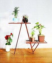 HWHJ Blumen-Rahmen-Kunst DIY einfacher kreativer Fußboden-Blumen-Topf-Feld Mehrstöckiger weißer Blumen-Rahmen-Bonsais-Rahmen-Betriebsregal einfacher Regal-Speicher-Regal-Balkon-Wohnzimmer-Innen- und im Freien Kreative Blumenregale ( Farbe : Messing )
