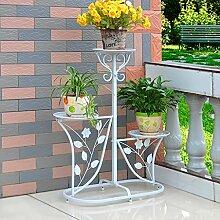 HWHJ Blumenrahmen Eisen DIY Boden Mehrgeschossige Blumenregale Indoor und Outdoor Europäische Art Garten Blumen Regal Wohnzimmer Balkon Blumen Stand Kreative Blumenregale ( Farbe : Weiß )