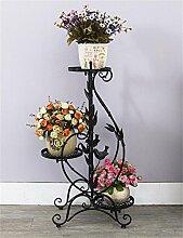 HWHJ Blumenregal / Eisen Blumenständer / Multi-Boden Boden Balkon Blumentopf Rack / grün Rettich Blume Regal / Wohnzimmer einfache hängende Orchidee Blume Kreative Blumenregale ( Farbe : Schwarz )