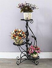 HWHJ Flower Rack / Iron Flower Stand / Mehrstöckiger Boden Balkon Blumentopf Rack / Grün Rettich Blume Regal / Wohnzimmer Einfache Hängende Orchidee Blume Kreative Blumenregale ( Farbe : Schwarz )