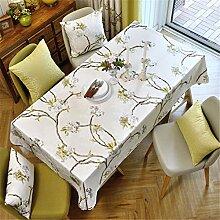 HXC Home beige Geblümt Blumenmuster Tischdecken Tischtuch Baumwolle leinen Französisch Esstisch Rezeption rechteckigen Quadrat Nicht bügeln umweltfreundlich Garten