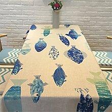 HXC Home blau Fisch minimalistisch tischdecken Baumwolle Leinen rechteckig Platz Nicht Bügeln umweltfreundlich tischläufer tischtuch