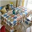 HXC Home blau gelb abstrakt Tischdecken Tischtuch Baumwolle leinen moderne Minimalistischen Esstisch Rezeption rechteckigen Quadrat Nicht bügeln umweltfreundlich Garten