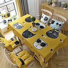 HXC Home gelb cool Kätzchen Karton frisch Tischdecken Tischtuch Baumwolle leinen Amerikanisch Esstisch Rezeption rechteckigen Quadrat Nicht bügeln umweltfreundlich Garten