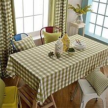 HXC Home Grün Kariert Rastermuster Tischdecken Tischtuch Baumwolle leinen Amerikanisch Esstisch Rezeption rechteckigen Quadrat Nicht bügeln umweltfreundlich Garten