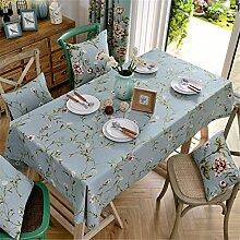 HXC Home hell blau Geblümt Blumenmuster Tischdecken Tischtuch Baumwolle leinen Amerikanisch Esstisch Rezeption rechteckigen Quadrat Nicht bügeln umweltfreundlich Garten