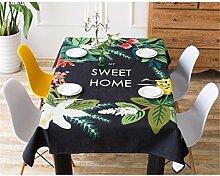 HXC Home schwarz Pflanze Blumen Geblümt Tischdecken Baumwolle leinen Modern minimalistisch Esstisch Rezeption rechteckigen Square nicht bügeln umweltfreundlich Tischtuch