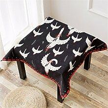 HXC Home schwarz Vogel Aztekisch Geblümt Tischdecken Baumwolle leinen Esstisch Rezeption rechteckigen Square nicht bügeln umweltfreundlich Tischtuch