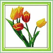 HXYA Tulpe Kreuzstich Kit Blume 11ct Anzahl
