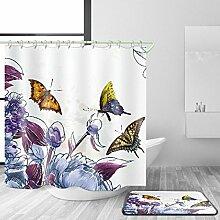 HY-FHLJ Bad Duschvorhang und Badematte Set Bad Zubehör Polyester 3D Digitaldruck Mildewproof Home Bad Dekor mit 12 Kunststoff Haken Multi Größen , 165 x 180 cm