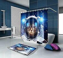 HY-FHLJ Bad Zubehör Bad Duschvorhang und Badematte Anzug Mildewproof wasserdicht Polyester Bad Vorhang Dekor 3D Digitaldruck mit 12 Kunststoff Haken Multi Größen , 165 x 180 cm