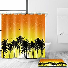 HY-FHLJ Bad Zubehör Duschvorhang und Badematte Set 3D Digitaldruck Strand Sonnenuntergang Muster Polyester Wasserdicht Mildewproof Bad Dekor mit 12 Kunststoff Haken Multi Size , @2 , 170 x 170 cm