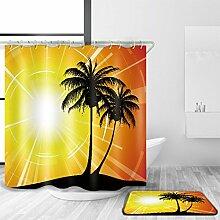 HY-FHLJ Bad Zubehör Duschvorhang und Badematte Set 3D Digitaldruck Strand Sonnenuntergang Muster Polyester Wasserdicht Mildewproof Bad Dekor mit 12 Kunststoff Haken Multi Size , @1 , 120 x 200 cm
