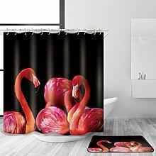 HY-FHLJ Bad Zubehör Duschvorhang und Badematte Set Modernes Tiermuster Polyester-Gewebe Wasserdichtes Mildewproof Badezimmer Dekoration Multi Größen mit 12 Plastikhaken , 120 x 200 cm