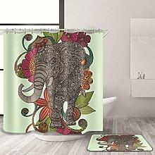 HY-FHLJ Duschvorhang Badematte Set Gleiches Farbsystem Polyester Wasserdicht Mildewproof Karikatur Bad Zubehör Bad Dekoration Mit 12 Kunststoff Haken Multi Size , 180 x 200 cm