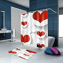 HY-FHLJ Duschvorhang Badematte Set Polyester Stoff Mildewproof Wasserdichte Duschvorhang Set Bad Zubehör mit 12 Kunststoff Haken Multi Size , @2 , 100 x 180 cm